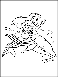 The Mermaid And Dolphin Coloring Pages