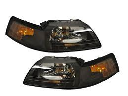 99 04 ford mustang headlights headls w xenons pair black set