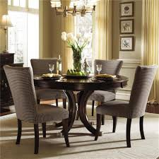 Contemporary Gray Upholstered Dining Chairs Design Plus Large Area Rug And Unique Round Table