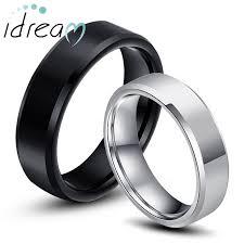 Black White Tungsten Wedding Bands Set for Women and Men Beveled Edge Tungsten