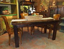 Vintage Rustic Walnut Kitchen Dining Set With Opaque Floor And Natural Wood Flower Vase In Classic Room Design Ideas