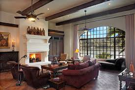 Family Room Ceiling Ideas Living Rustic With Leather Armchair Fireplace Hearth Recessed Lighting