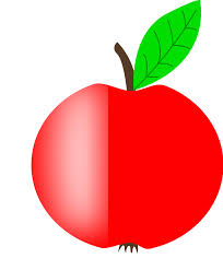 Apple Red with a Green Leaf Clipart vector clip art online
