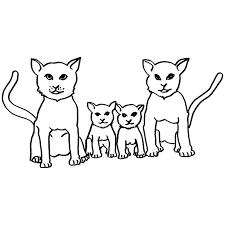 Download Print Colouring Cat Family