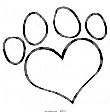 Royalty Free Logo Of A Black And White Heart Shaped Dog Paw Print