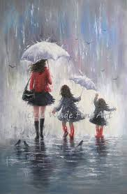 Mom And Two Daughters Original Painting 24X36 Rain Girls Mother Paintings Wall Art Sisters