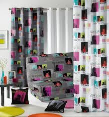 rideau chambre ado fille housse de clic clac york gris multicolore
