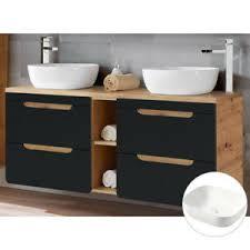 details zu doppel waschtisch unterschrank 141cm badmöbel badezimmer set keramik waschbecken
