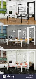 100 Modern Loft Interior Design 3d Illustration Of Three Color Variations Of A Modern Loft