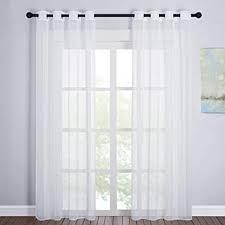 pony wohnzimmer gardinen modern 2er set voile vorhang für schlafzimmer dekoschals luftige lichtdurchlässige gardinen weiss h 220 x b 140 cm