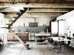 100 Exposed Joists Kitchen And Eating Area Features An Angled Staircase And