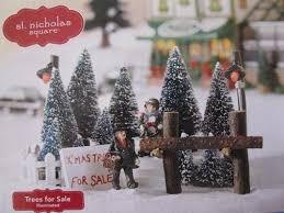 Amazon St Nicholas Square Trees For Sale Illuminated Christmas Village Accessory Home Kitchen
