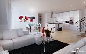 interior wonderful red black and white living room decoration