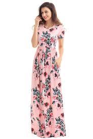 pocket design short sleeve pink long floral dress mb61560 1010
