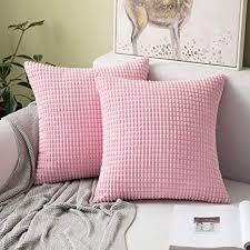 miulee 2er set kissen kordsamt kissenbezüge kissenbezug polyester weich bequem für autos wohnzimmer schlafzimmer dekor rosa 16x16inch 40x40cm