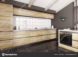 Modern White Kitchen Interior 3d Rendering Stockfoto Und Modern Interior Of Wooden Kitchen With White Counter 3d Rendering 215675566