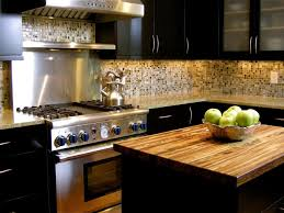 Kitchen Backsplash With Dark Oak Cabinets by Cream And Brown Small Square Tile Back Splash Combined With Black