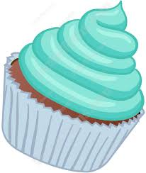 Cupcake With Light Blue Swirled Frosting Cartoon Clipart