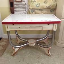 1940s Vintage Porcelain Enamel Top Kitchen Table With Drawer