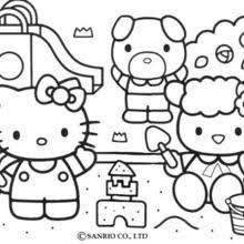 HELLO KITTY Picking The Flowers Hello Kitty Building A Sand Castle Coloring Page