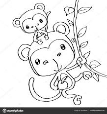 Mono De Madre Y Bebé Para Colorear Fotos De Stock © Designartks