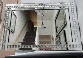 details zu glitzer silber kristall groß wand spiegel wohnzimmer flur schlafzimmer 120x80cm