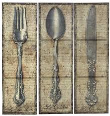 Wooden Fork And Spoon Wall Hanging by Amazon Com Vintage Kitchen Silverware Canvas Wall Art Spoon