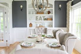 Summer Tour Dining Room Reveal Navy Walls Ikat Curtains Wingback Chairs