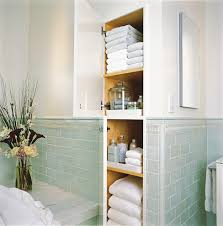 built in linen closet bathroom traditional with accent tiles