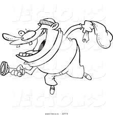 Vector Of A Cartoon Robber Using Flashlight