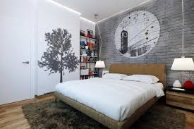 Graffiti Wall Art For Cool Teen Bedroom Design Ideas With Elegant Table Lamp And Bedside