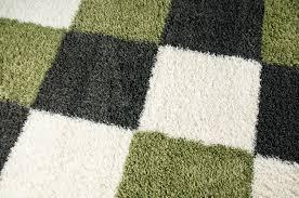 shaggy teppich hochflor langflor bettvorleger wohnzimmer teppich läufer karo grün grau creme