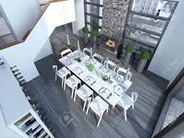 moderne speise mit weißen möbeln trend top blick auf esszimmer mit weinregal tisch für 10 personen und kamin 3d übertragen