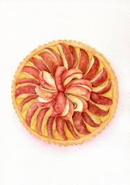 Apple Pie ORIGINAL Painting Desset Illustration Still Life Watercolour Food Wall Art