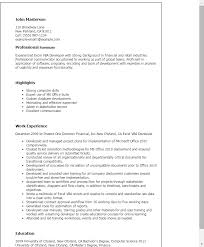 Resume Templates Excel Vba Developer