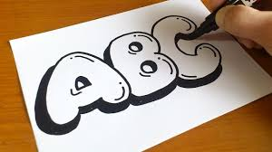 Very Easy How To Draw Graffiti Bubble Letters ABC For Kids