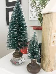 What A Great Way To Display Bottle Brush Trees Instead Of Those Ugly Plastic Bases