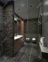 moderne badezimmer in schwarzen fliesen mosaik und braunen möbeln mit dusche abstellraum wc und bidet 3d übertragen
