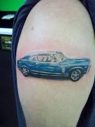 Classic Car Tattoo Blue On Shoulder