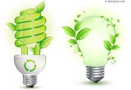 4 designer creative green energy saving light bulb vector material