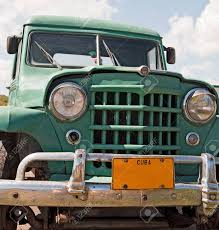 100 Truck Licence Classic Green Front View With Cuba Plate Stock Photo