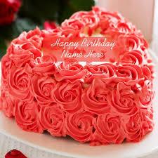 Beautiful Rose Birthday Cake with Name Edit