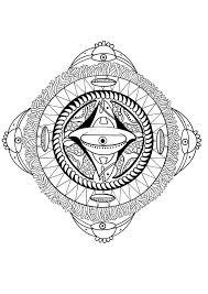 Tibetian Om Mantra Mandala Polynesian With Face Bird And Fish