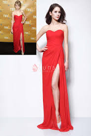 strapless sweetheart red chiffon taylor swift red carpet