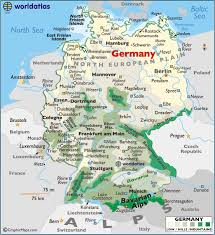 mountain ranges of europe germany large color map