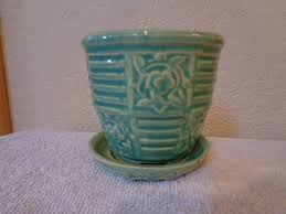 Vintage McCoy Pottery Flower Pot Planter Teal Green 1940 S