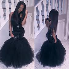 sparkly black girls mermaid african prom dresses 2017 halter neck