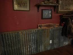 Old Tin As Wainscoting With Deep Red Walls