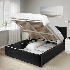 malm storage bed black brown ikea bettwäsche