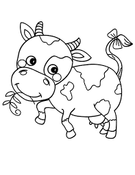 Cute Cow Coloring Pages Eating Grass